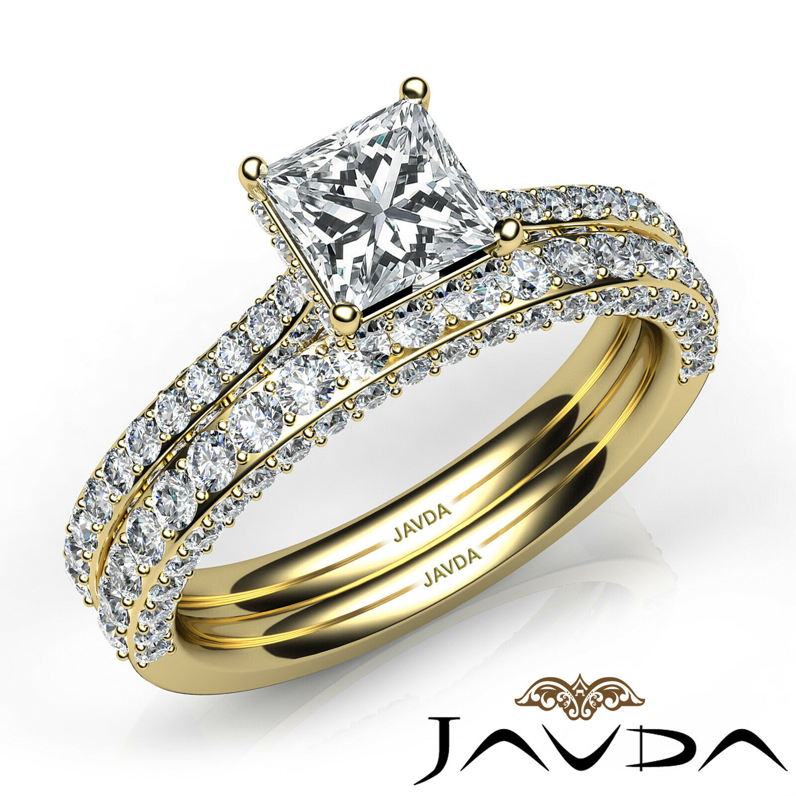2.35ctw Circa Halo Pave Wedding Set Princess Diamond Engagement Ring GIA G-VVS1 9