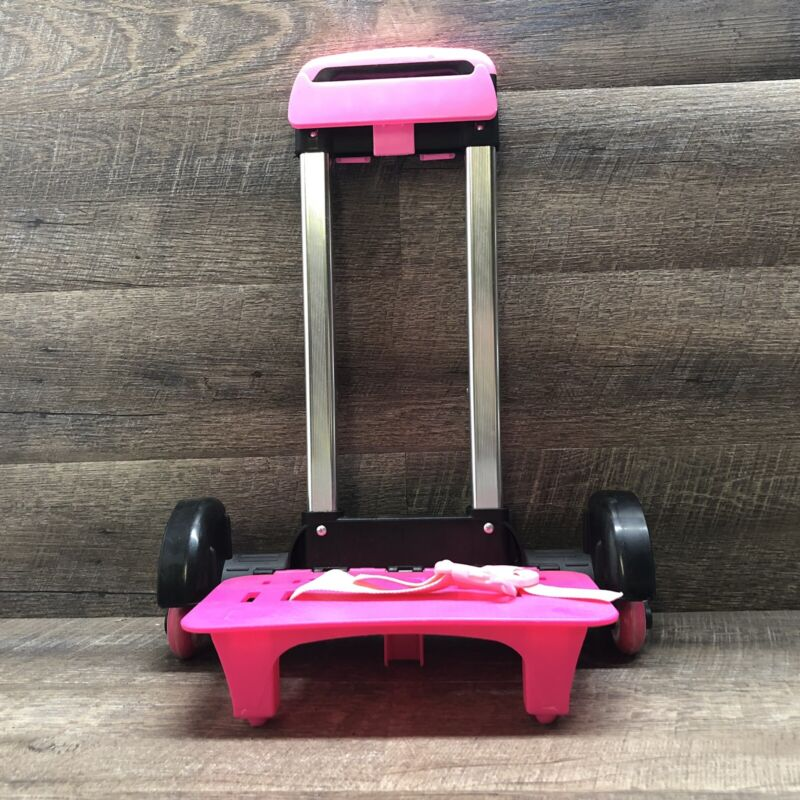 Foldable Trolley Cart for Back Packs - Wheeled Hand Truck Pink