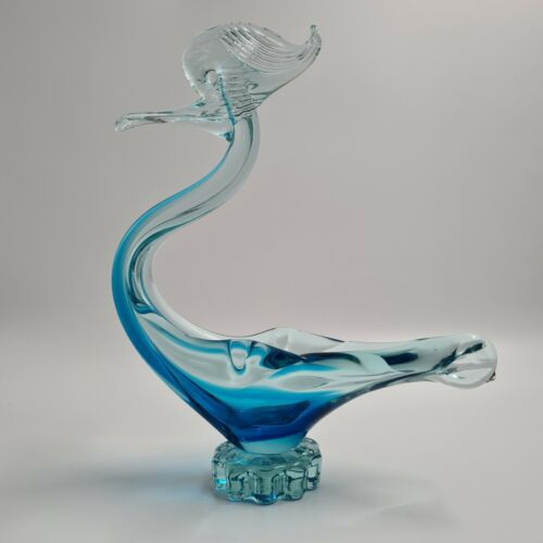 Vintage Stylised Bird in Blue Art Glass Sculpture by Northwood Glass Company NM