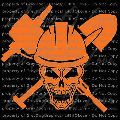 Road Construction Worker Skull Vinyl Decal Hard Hat Jack Hammer Shovel - Construction Worker Hat