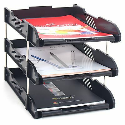 Office Filing Trays Letter Rack Desk Organiser Paper A4 Document Holder Black