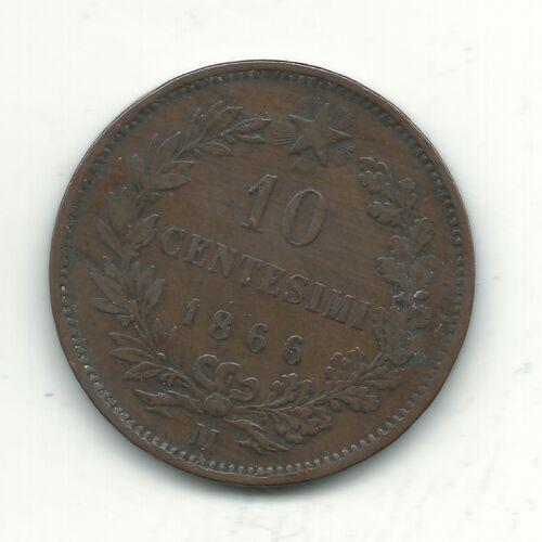 VERY NICE BETTER GRADE 1866 M 10 CENTESIMI ITALY COIN-NOV324