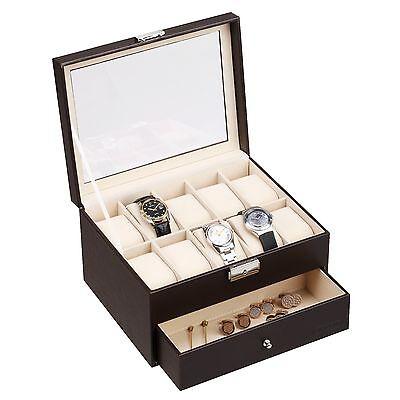 VonHaus Brown 10 Slot Watch Jewelry Case Display Storage Box Faux Leather