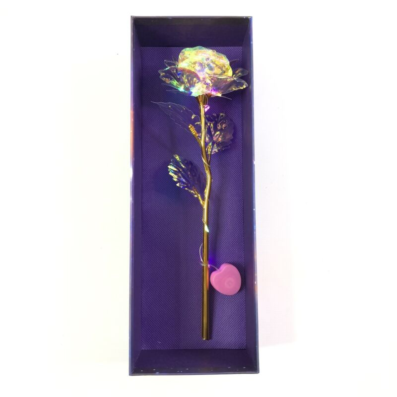 24K Colorful Artificial Gold Foil LED Rose Flower with Gift Box & Card NEW