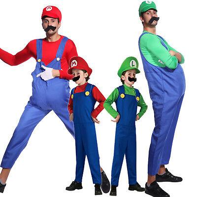Super Mario Luigi Kostüm-Set Arbeiter Verkleidung Fasching Anzug Herren (Super Mario Kostüm)