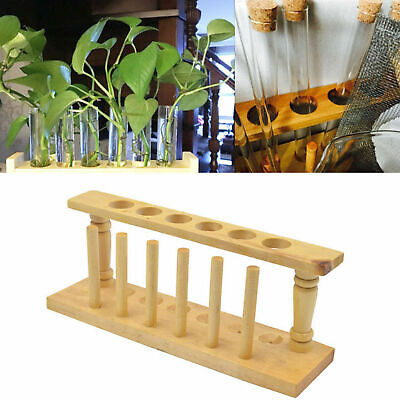 Wooden Test Tube Storage Rack With 6 Holes Chemical Experiment Stand Holder New