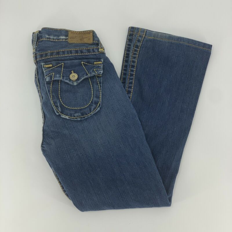 True Religion World Tour Boys Billy Big T Dark Wash Denim Big Flap Jeans Size 14