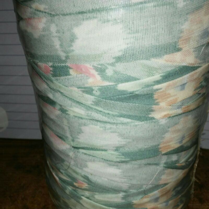 Rag Yarn Precut Fabric Strips Light Weight 18oz Straight Cut Green Pink Flowers