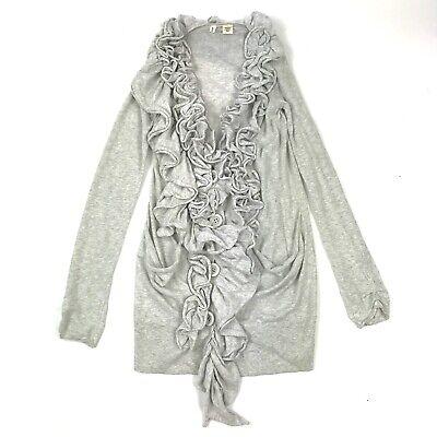 Moth Anthropologie Heather Grey Ruffle Long Sleeve Open Front Plaza Cardigan XS - Long Sleeve Ruffle Cardigan