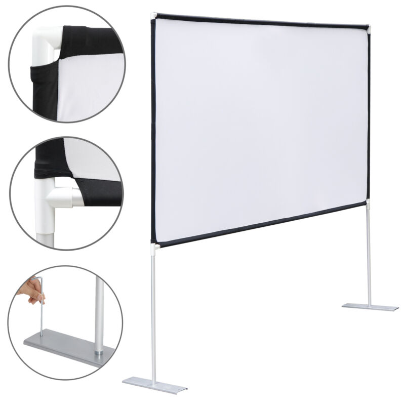 """100"""" Projector Screen with stand 16:9 Projection HD Home Theater Movie Screen"""