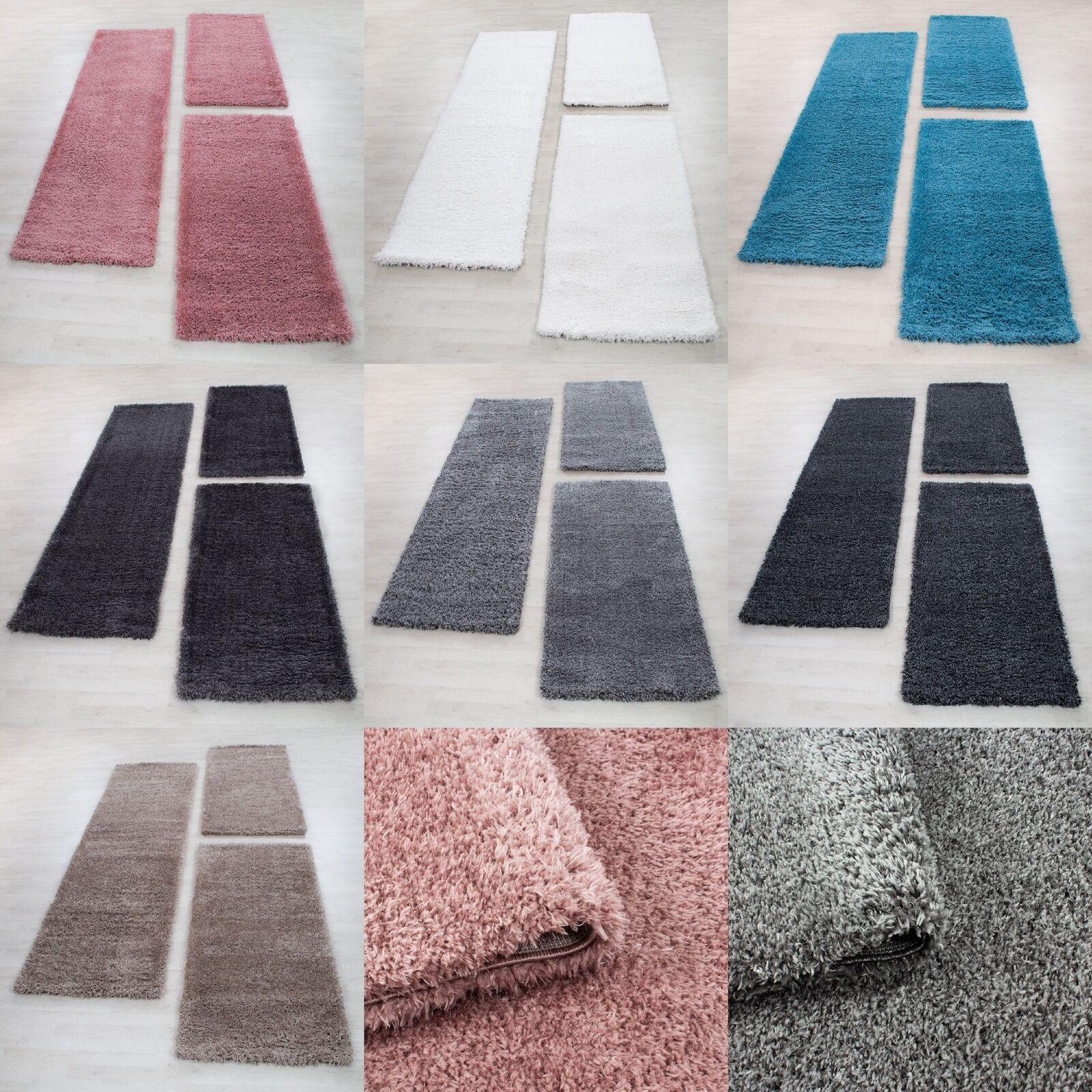 Bettumrandung Schaffel Teppich Läuferset 3 teilig Hochflor Einfarbig Langflor