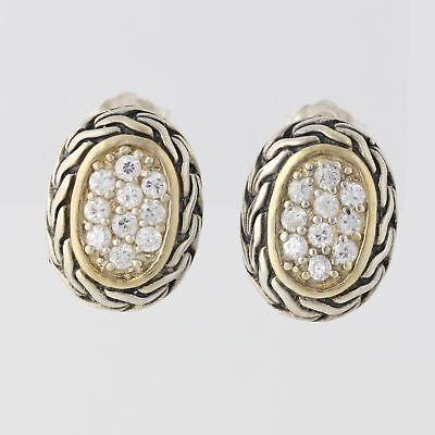 New CZ Cluster Earrings Sterling Silver 925 Pierced Wheat Pattern Cubic (Wheat White Earrings)