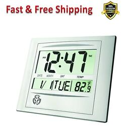 Digital Wall Clock 12 in  Large LCD Alarm Clock Brushed Aluminum Home Office New