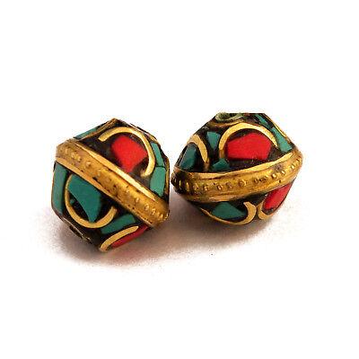 Turquoise Coral Brass 2 Beads Tibetan Nepalese Handmade Nepal By Eksha UB2476