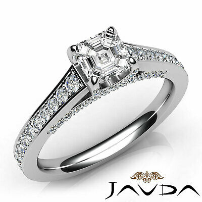 Cathedral Bridge Accent Pave Asscher Diamond Engagement Ring GIA G VS1 1.25 Ct