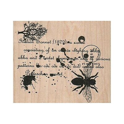Mounted Rubber Stamp, Italian Sonnet Collage, Collage, Mixed Media, Background Background Mounted Rubber Stamp