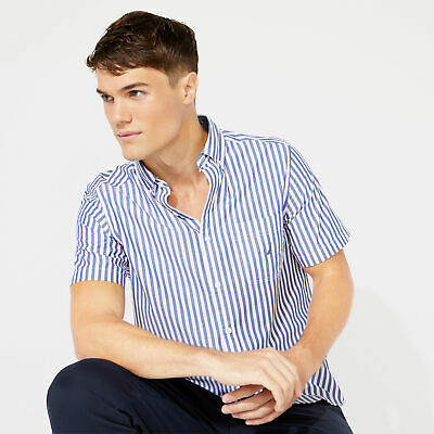 Nautica Mens Classic Fit Short Sleeve Shirt In Classic Stripe