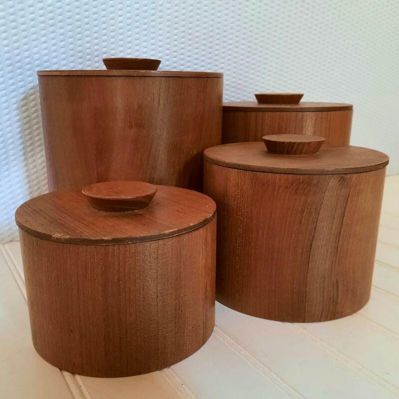 Vintage Teak Wood Canister Set of 4 Coronet MCM Mid Century