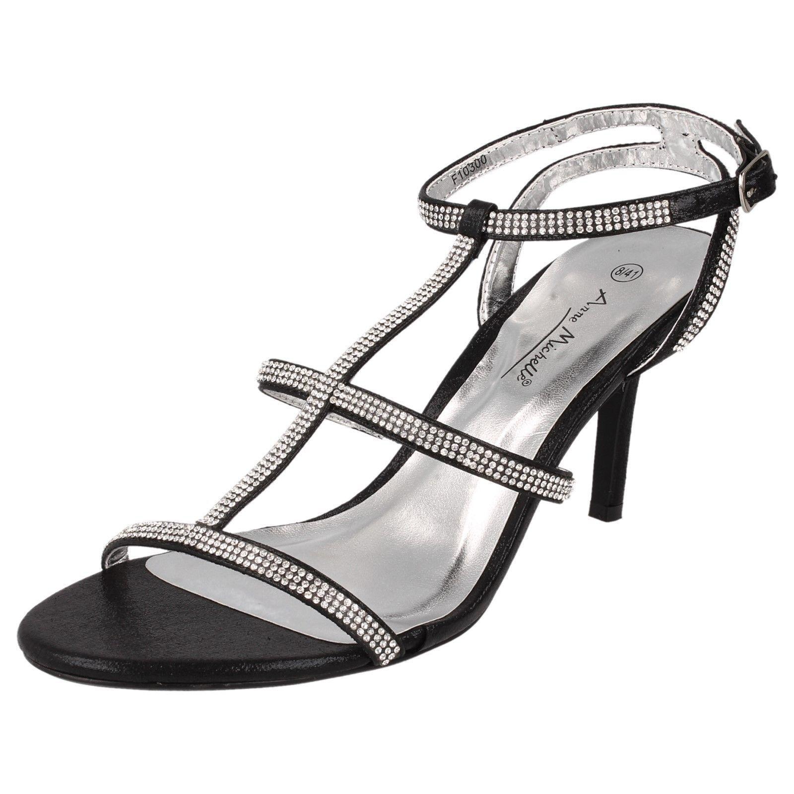 как выглядит Ladies Black DIAMANTE Slingback Sandals F10300 WEDDING/PARTY