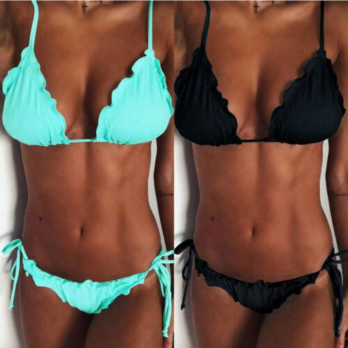 Sexy Damen Rüschen BH Bikini Set Push Up Bademode Badeanzug Schnürung34 36 38 40