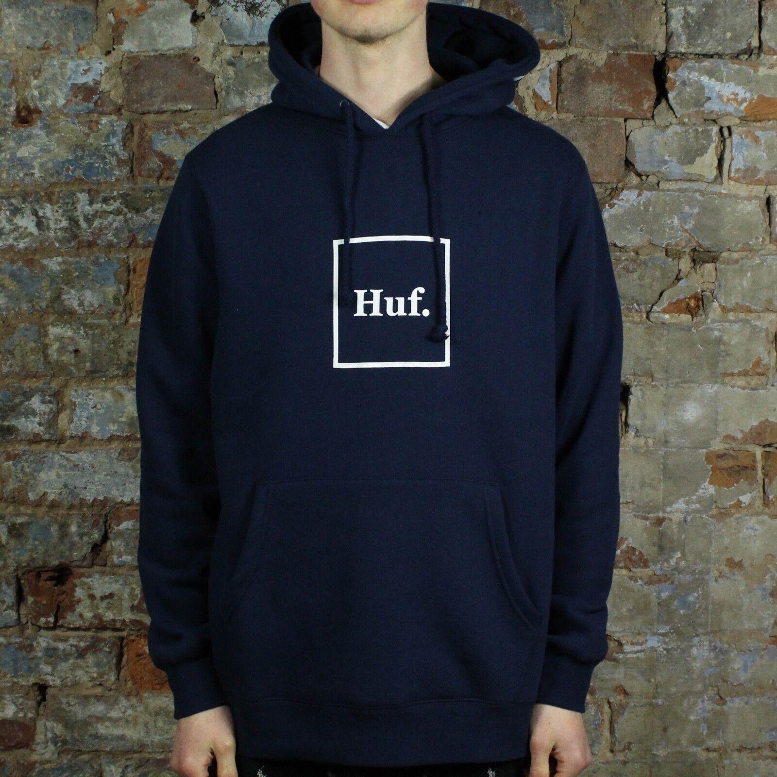 Détails sur Huf Outline Logo Pullover à Capuche Sweat Shirt – Bleu marine en taille S, M afficher le titre d'origine
