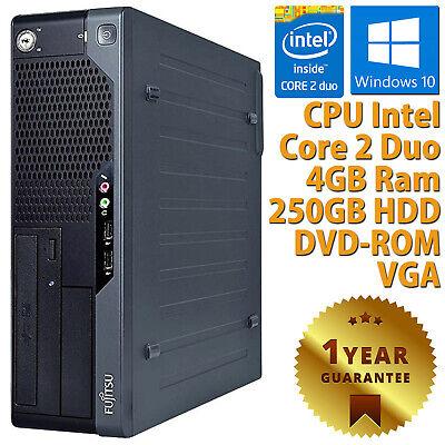 PC COMPUTER DESKTOP RICONDIZIONATO FUJITSU DUAL CORE 4GB HDD 250 WINDOWS 10 PRO