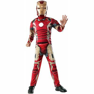 DELUXE IronMan Age of Ultron MUSCLED Child Halloween Costume S4-6 M 7-8 iron man