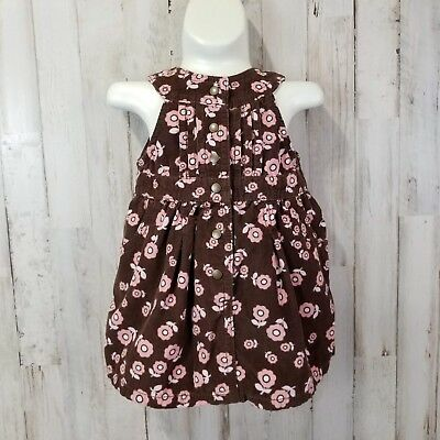 Old Navy Baby Girls Dress 6-12 Months Brown Pink Floral Corduroy T3