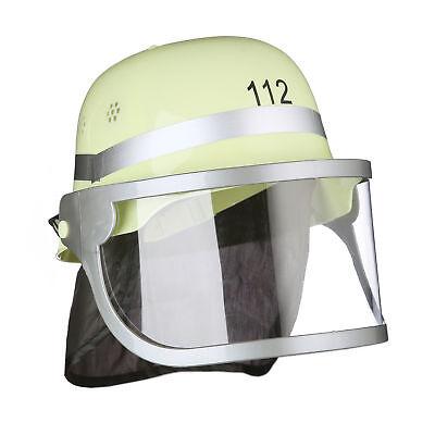 Feuerwehrhelm Kinder Helm Feuerwehr Zubehör gelb Visier verstellbar Nackentuch ()