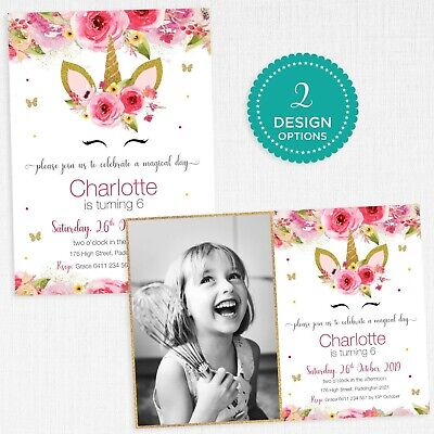 Unicorn Birthday Invitations Gold Glitter Butterfly Pink Floral Party Theme](Butterfly Birthday Invitations)