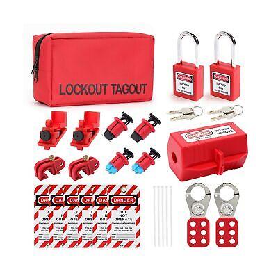 Breaker Lockout Tagout Kit Electrical - Loto Safty Padlock Set Loto Tags Lock...