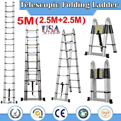 A-frame Telescopic Folding Ladder Stepladder 5m16.5ft Aluminum150kg Maxload Us