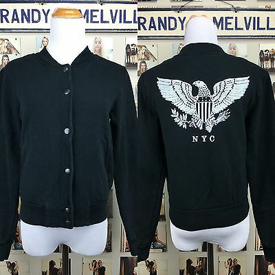 Rare! Brandy Melville New York City Nyc Eagle Bird Button Bomber Jacket Nwt