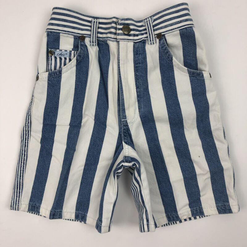 Vintage 90s Chic Girls Denim Jean Shorts Blue White Striped 6x Deadstock