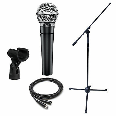 Dynamic Microphone Bundle  Shure Sm58 Boom Stand And Xlr Cable
