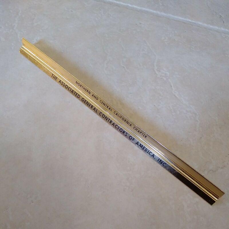"""Vintage Metal Engineer 3-Sided Ruler 12"""" Associated General Contractors"""