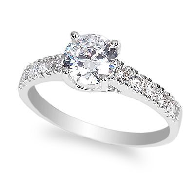 Ladies 10K White Gold Solid Solitaire Ring with Accents 1.0 ct Round CZ 10k White Gold Solitaire