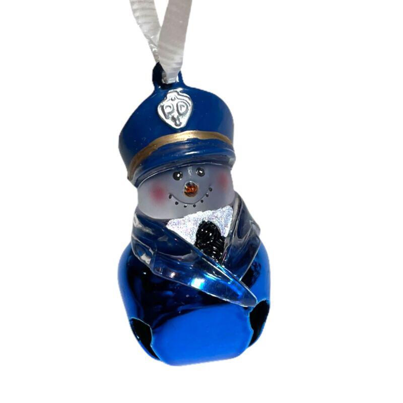 Christmas Tree Ornament Police Snowman Man Blue Bell