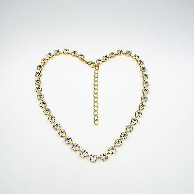 Damen Halskette Collier Tennis 24 K Vergoldet Swarovski Kristalle Klar Weiß
