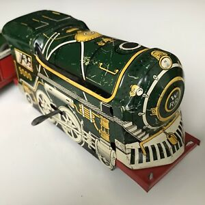 40s Courtland Wind Up Tin Toy Train Engine & Car