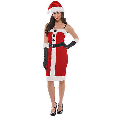s Weihnachten Schickes Kleid Damen-Kostüm Erwachsene (Miss Santa Claus Kostüm)
