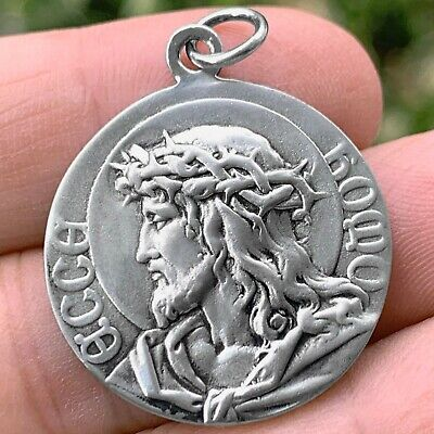 Jesus Charm Oxidized Metal Ecce Homo Die Cast Silverplate Made in Italy Silver Color Patron Saint Medal Finding Drop