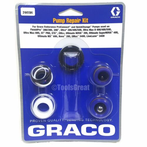 Graco 390, 395, 495, 595, 695  Airless Sprayer Pump Packing Repair Kit 244194