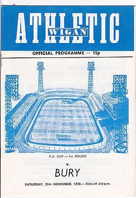 WIGAN ATHLETIC V  BURY FA CUP 25/11/78