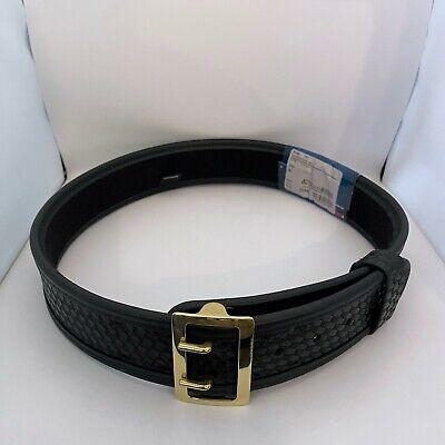 Bianchi 7960 Sam Browne Duty Belt Basketweave Black W Brass Buckle 36 - 38