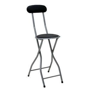 NEW! Black Padded Folding High Chair Breakfast Kitchen Bar Stool Seat