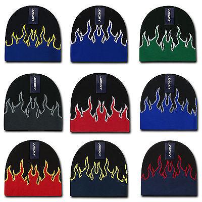 Decky Fire Flame Beanies Caps Hats Short Warm Winter Youth Boys Girls Kids Size ()