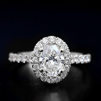 1.65 Ct. Oval Cut Halo Natural Diamond Engagement Ring Pave D, VVS1 GIA Cert 14k 6