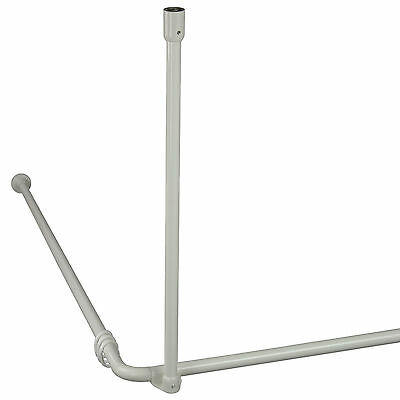 Winkelstange Duschstange 22 mm Ø - weiß, alu - barrierefrei - 3 Montagevarianten - Weiße Barriere Frei Barriere