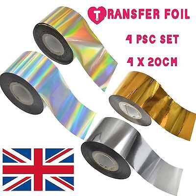4pc X 20cm SET TRANSFER FOIL NAILS STICKERS GOLD SILVER Holographic Decals UK